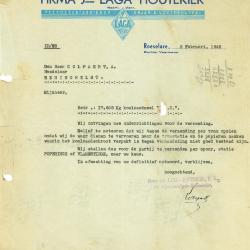 Een schrijven van de NV Jos Laga-Houtekier, Roeselare, 1945 en 1952