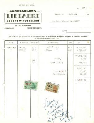 Factuur van kolengroothandel Lietaert,  Roeselare, 1954