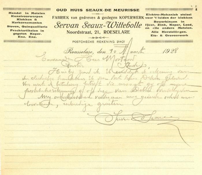 Begeleidend schrijven van Servan Seaux-Wittebolle, Roeselare, 1928
