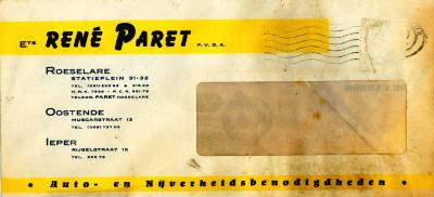 Briefomslag Ets René Paret pvba, Roeselare