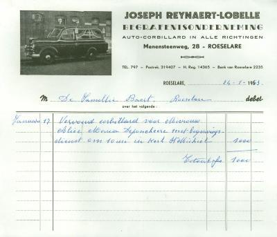 Handgeschreven factuur van Joseph Reynaert-Lobelle, Roeselare, 1963