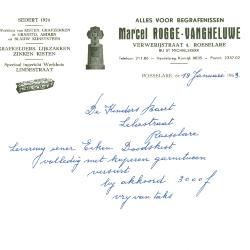 Handgeschreven factuur van Marcel Rogge-Vangheluwe, Roeselare, 1963