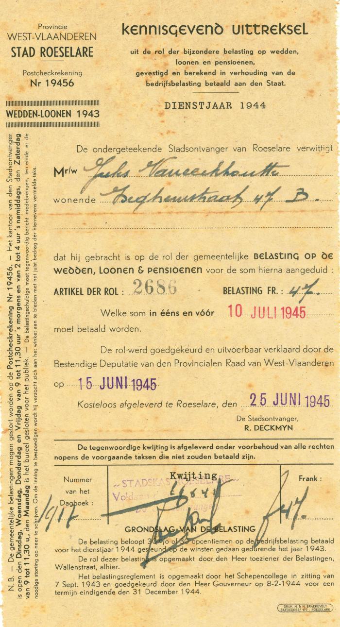 Uittreksel uit de rol der bijzondere belasting op wedden, Roeselare, 1945 en 1949