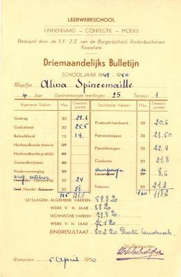 Driemaandelijks bulletijn van Alina Spincemaille, Roeselare, 1950
