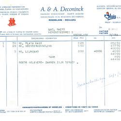 Factuur van NV A & A Deconinck, Roeselare, 1963