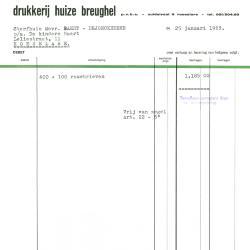 Factuur van drukkerij huize Breughel, Roeselare, 1963