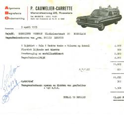 Factuur van P. Cauwelier-Carrette, Roeselare, 1973