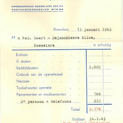 Factuur van kliniek Maria's Rustoord, Roeselare, 1963