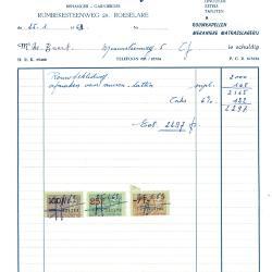 Factuur van Norbert Plancke-Deforce Roeselare, 1963