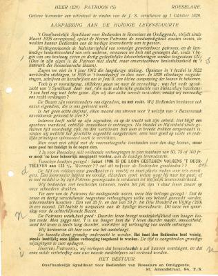 Document aanpassing levensduurte, Roeselare, 1929