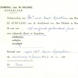 Factuur van de kerkfabriek van St Michiel, Roeselare, 1963