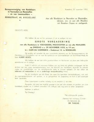 Document uitnodiging vergadering, Roeselare, 1955