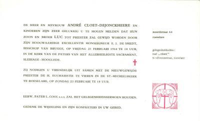 Uitnodiging bijwonen priesterwijding van E.H. Luc Cloet, Roeselare, 1964