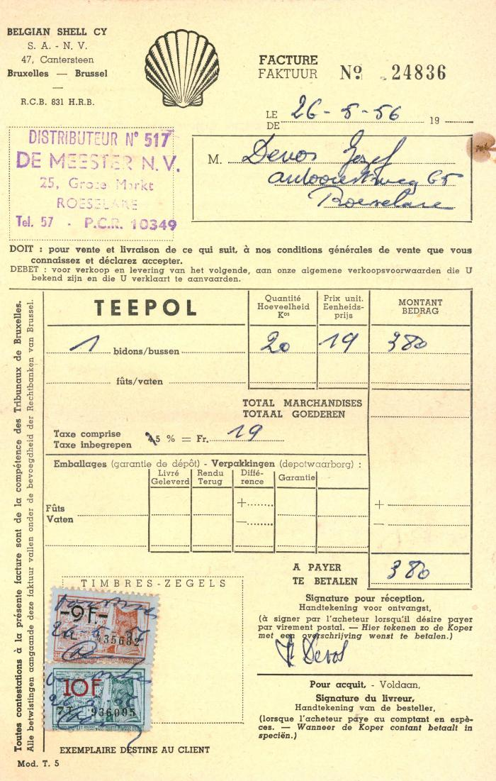 Factuur NV Belgian Shell Cy, Roeselare , 1956