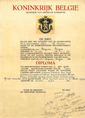 Diploma Rijksmiddelbare School, Roeselare, 1950