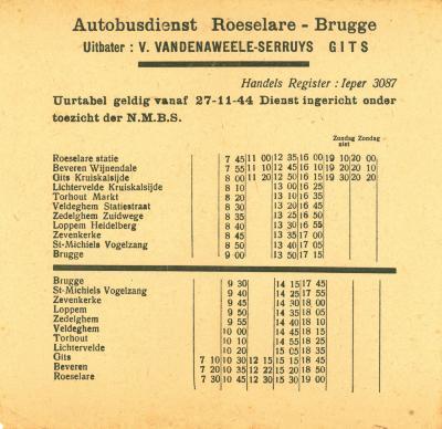 Dienstregeling autobusdienst Roeselare-Brugge, Roeselare, 1944
