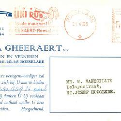 Briefhoofding Firma Gheeraert N.V,  Roeselare, 1965
