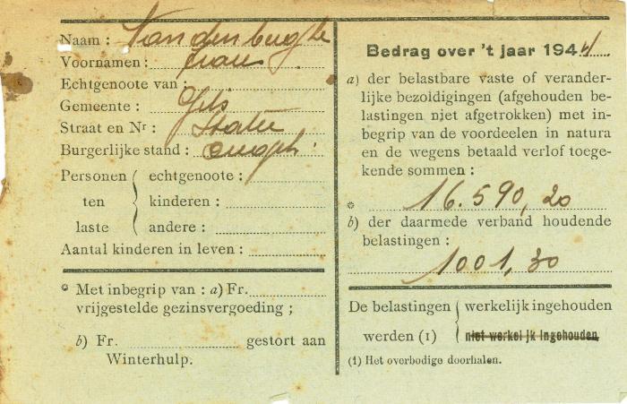 Attest ingehouden belastingen op bezoldiging, Gits, 1944