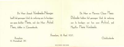 Aankondiging verloving Maria Verstraete en Achiel Maes,  Roeselare, 1937