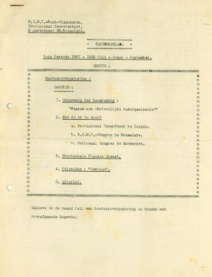 Bestuursblad N.C.M.V, Roeselare , 1951