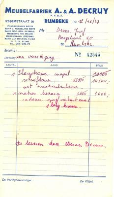 Leveringsbon van Meubelfabriek pvba A&A Decruy, Rumbeke , 1967