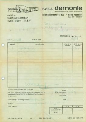 Bestelbon van pvba Demonie, Roeselare , 1983