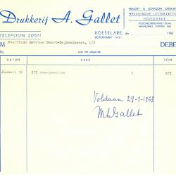 Factuur van Drukkerij A. Gallet, Roeselare , 1963