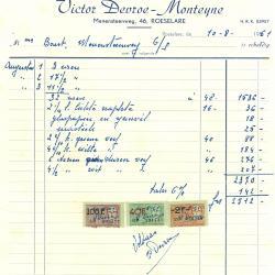 Factuur Victor Devroe - Monteyne, Roeselare , 1961