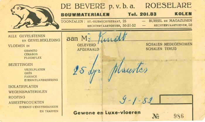 Afhaalbon van bouwmaterialen pvba De Bevere, Roeselare , 1959