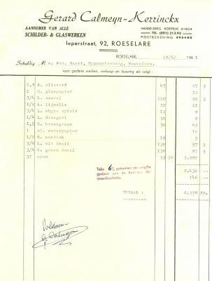 Factuur van Gerard Calmeyn - Kerrinckx, Roeselare , 1961