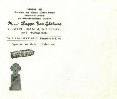 Een hoofding van Marcel Rogge -Van Gheluwe, Roeselare, 1963