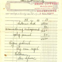 Factuur van Andre Lefevere, Roeselare , 1959