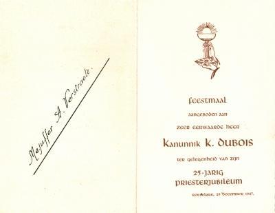 Een feestmaal voor Kanunnik K. Dubois, Roeselare, 1947