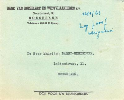 Een attest van betaling van roerende voorheffing, Roeselare, 1963