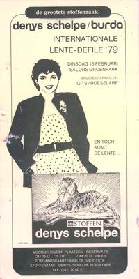 Uitnodiging internationale lente-defile, Roeselare, 1979