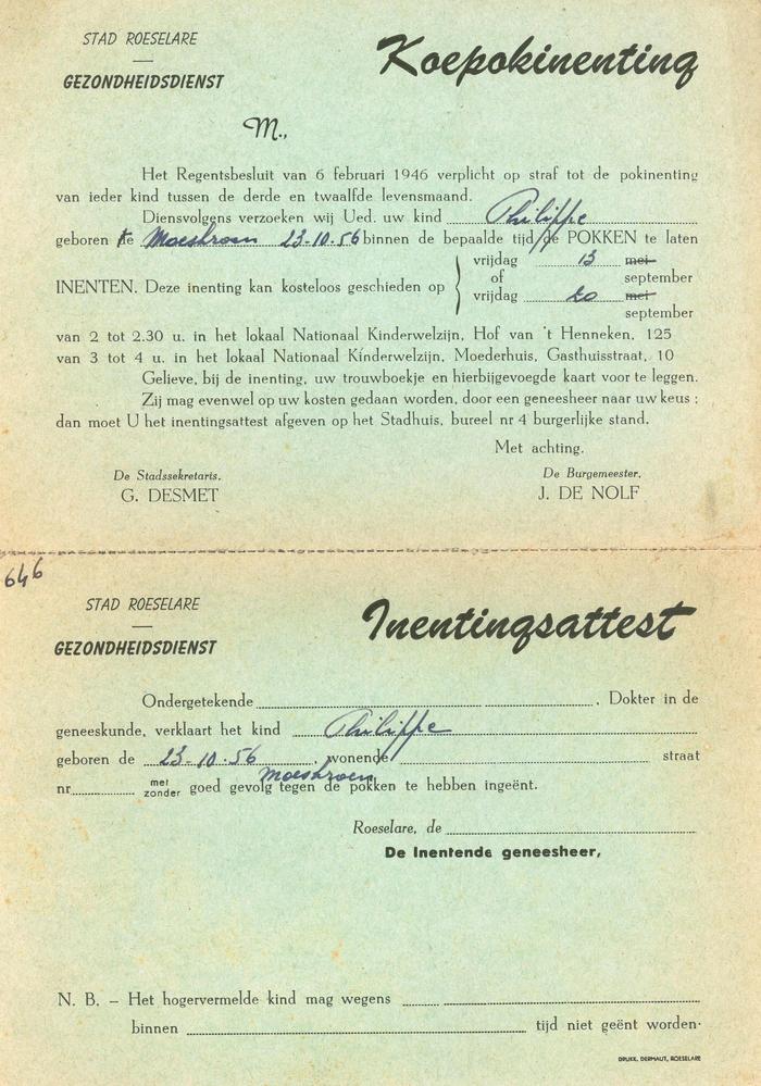 Uitnodiging tot koepokinenting, Roeselare, 1957
