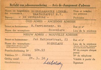 Bericht adresverandering, Roeselare, 1958