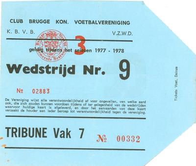 Promotie voetbal ticket, Roeselare, 1977