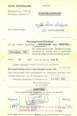 Aanslag  gemeentebelasting op het weghalen van huisvuil, Roeselare, 1957 en 1961