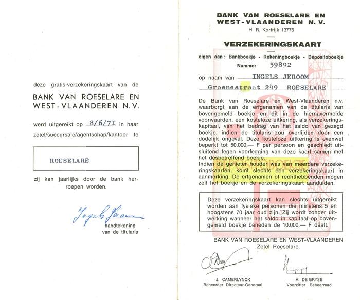 Verzekeringskaart Bank van Roeselare en West-Vlaanderen, Roeselare, 1971