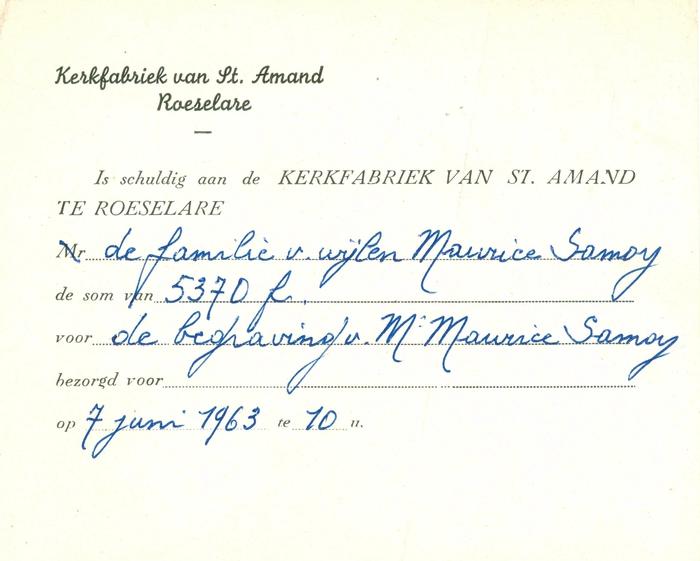 Afrekening van de kerkfabriek St Amand, Roeselare, 1963