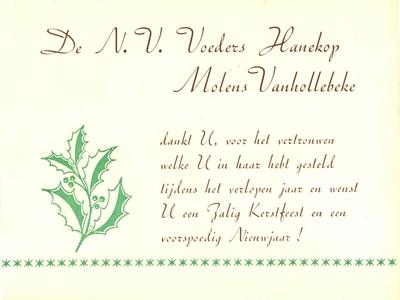 Kerst- en Nieuwjaarswensen NV Voeders Hanekop en Molens Vanhollebeke, Roeselare