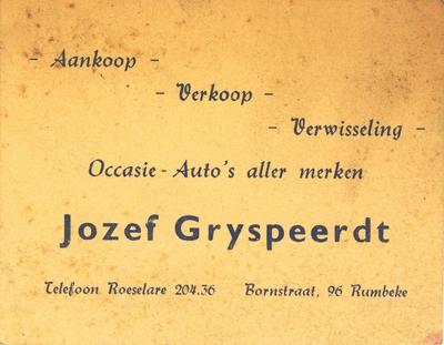 Promotiemateriaal auto's Jozef Gryspeerdt, Roeselare