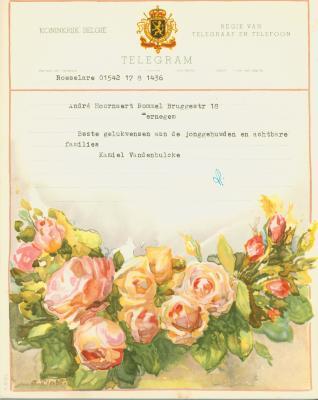 Huwelijkstelegrammen voor de familie Hoornaert-Rommel