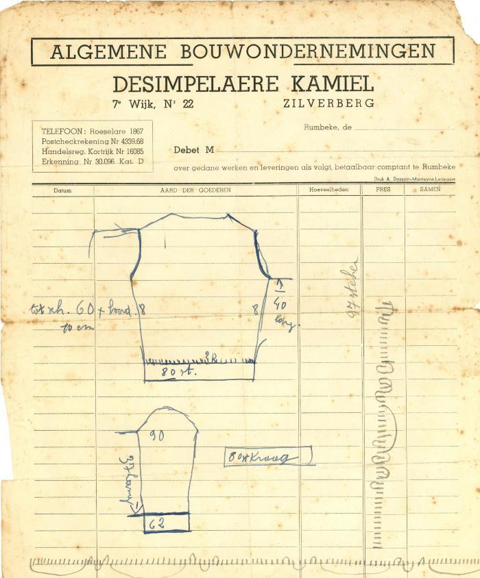 Briefhoofding Algemene Bouwondernemingen Desimpelaere Kamiel, Rumbeke