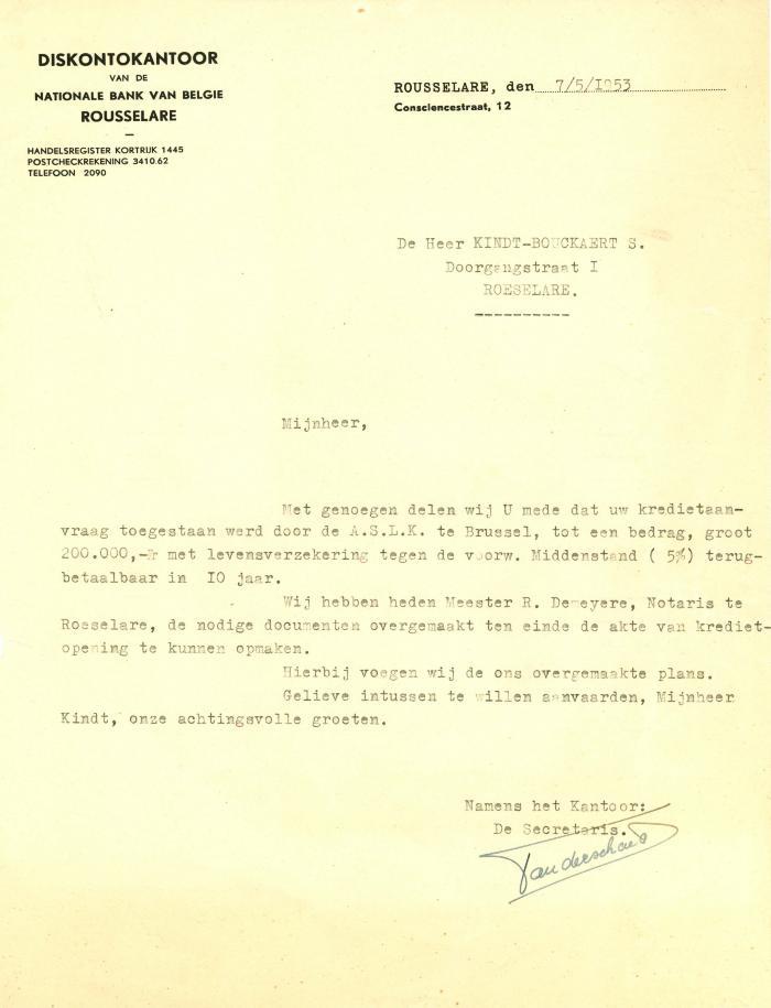 Briefwisseling Nationale Bank, Roeselare, 1953-1954