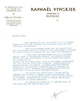 Briefhoofd Raphaël Vynckier, Rumbeke, 1961