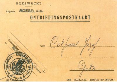 Ontbiedingspostkaart, Gits, 1959