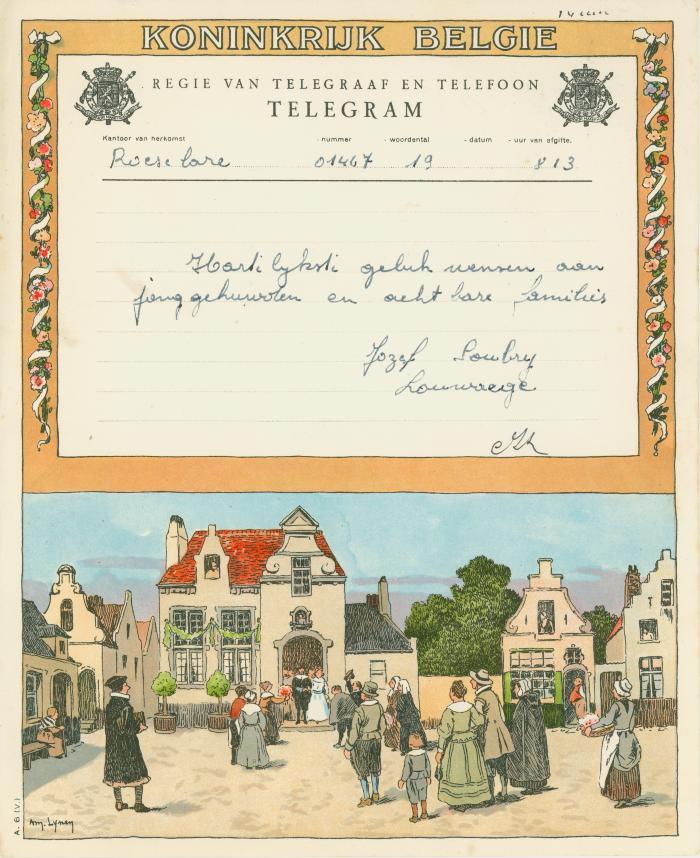 Huwelijkstelegram verzonden door Jozef Soubry-Louwaege
