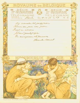 Huwelijkstelegram verzonden door de familie Benoit